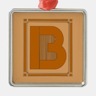 Líneas rectas art déco con el monograma, letra B Adorno Cuadrado Plateado