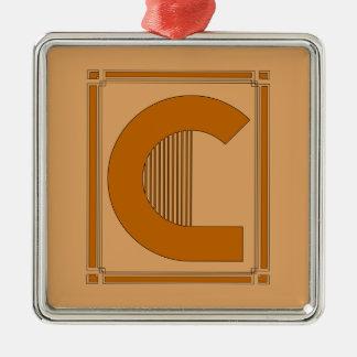 Líneas rectas art déco con el monograma, letra C Adorno Cuadrado Plateado