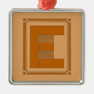 Líneas rectas art déco con el monograma, letra E Adorno Cuadrado Plateado
