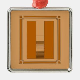 Líneas rectas art déco con el monograma, letra H Adorno Cuadrado Plateado