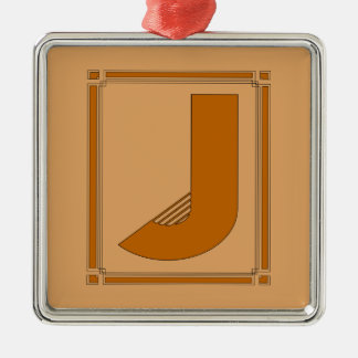 Líneas rectas art déco con el monograma, letra J Adorno