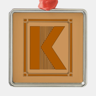 Líneas rectas art déco con el monograma letra K Ornamente De Reyes