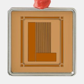 Líneas rectas art déco con el monograma letra L Adorno De Reyes