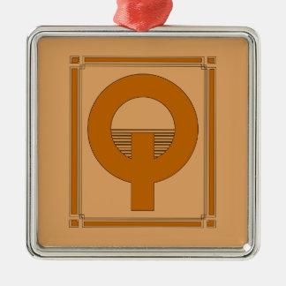 Líneas rectas art déco con el monograma, letra Q Ornamentos Para Reyes Magos