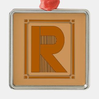 Líneas rectas art déco con el monograma letra R Adorno