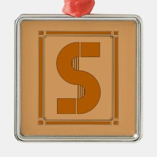 Líneas rectas art déco con el monograma, letra S Adorno Cuadrado Plateado