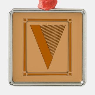 Líneas rectas art déco con el monograma, letra V Ornatos