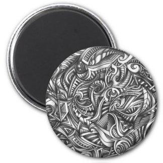 Líneas sombreadas extracto de Swirly del Doodle Imán Redondo 5 Cm