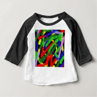 Líneas squiggly fluorescentes coloridas camiseta de bebé