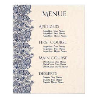 Lino beige del menú del boda y cordón azul marino
