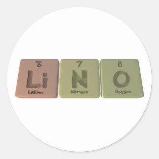 Lino como oxígeno del nitrógeno del litio pegatina redonda