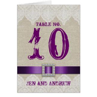 Lino de la púrpura del número de la tabla del boda tarjeta de felicitación