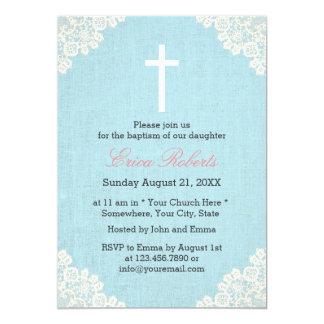 Lino elegante del cordón del vintage del bautizo invitación 12,7 x 17,8 cm