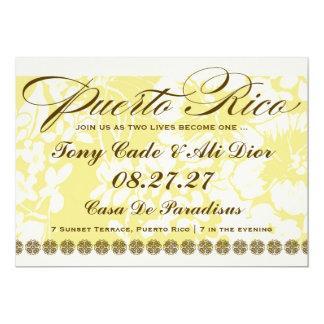 Lino floral tropical del destino de PUERTO RICO Invitación 12,7 X 17,8 Cm
