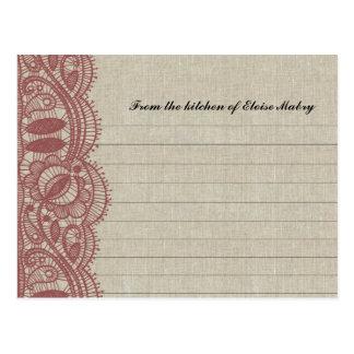 Lino y tarjetas personalizadas cordón de la receta