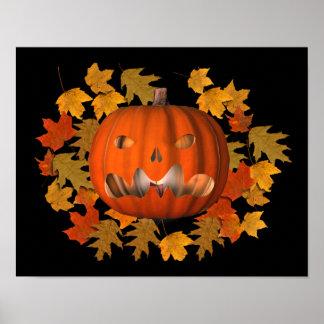 Linterna de Jack O y hojas de otoño malas Hallowee Poster