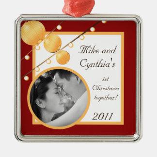 Linternas de papel personalizadas del ornamento de adorno navideño cuadrado de metal