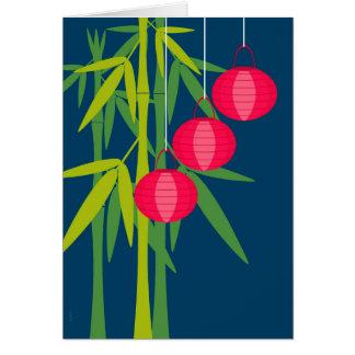 Linternas rojas chinas y bambú del Año Nuevo Tarjeta De Felicitación
