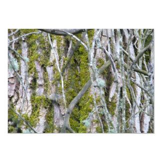 Liquen, corteza, y ramas invitación 12,7 x 17,8 cm