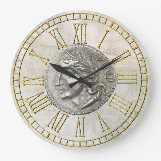 Lira italiana del vintage en el yeso reloj redondo grande