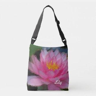 Lirio de agua rosado personalizado de la flor de bolsa cruzada