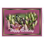 Lirio de color de malva con personalizar negro del tarjeta de felicitación