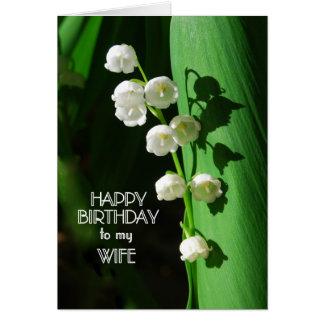 Lirio de los valles de la esposa del feliz tarjeta de felicitación