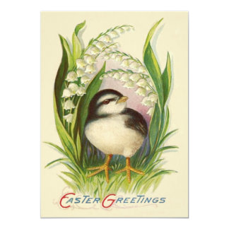 Lirio de los valles del polluelo de Pascua Invitación 12,7 X 17,8 Cm