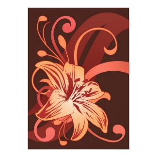 Lirio de pascua en rojo invitación 12,7 x 17,8 cm