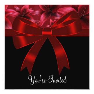 Lirio negro y rojo todo el fiesta de la ocasión invitación 13,3 cm x 13,3cm