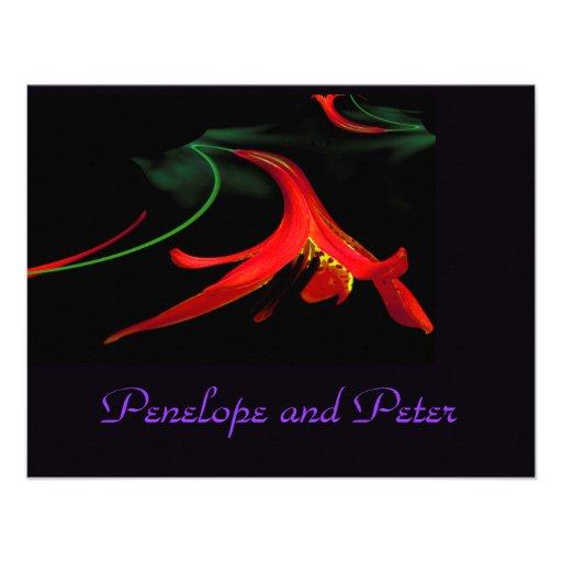 Lirio rojo púrpura floral del boda elegante modern anuncio