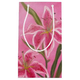 Lirio rosado bolsa de regalo pequeña