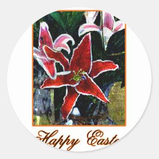 Lirio tigrado anaranjado feliz de Pascua b El Etiqueta Redonda