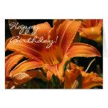 ¡Lirios anaranjados - feliz cumpleaños! Tarjeta De Felicitación