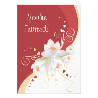 Lirios blancos en tarjeta del día de San Valentín