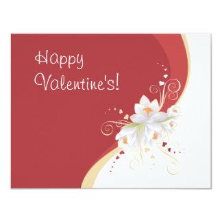 Lirios blancos en tarjeta del día de San Valentín Invitación 10,8 X 13,9 Cm