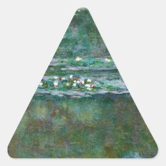 Lirios de agua de Claude Monet // Pegatina Triangular
