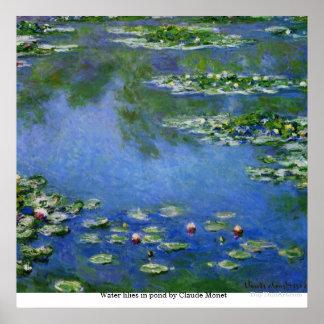 Lirios de agua en la charca de Claude Monet Póster