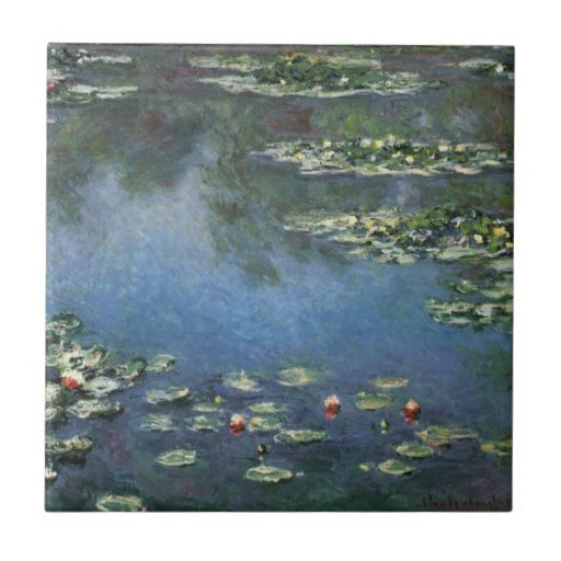 Lirios de agua, Monet, flores del impresionismo de Azulejo Ceramica
