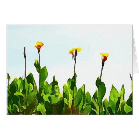 Lirios de día amarillos tarjeta de felicitación