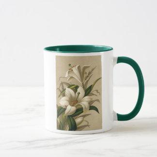 Lirios de pascua del vintage, flores del Victorian Taza