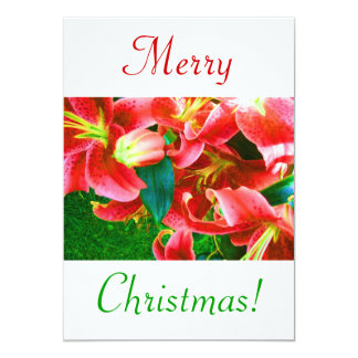 Lirios del navidad III Invitación 12,7 X 17,8 Cm