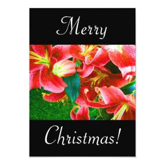 Lirios del navidad invitación 12,7 x 17,8 cm