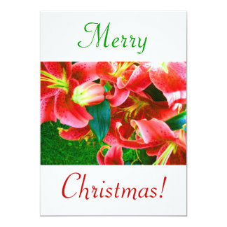 Lirios del navidad IV Invitación 12,7 X 17,8 Cm