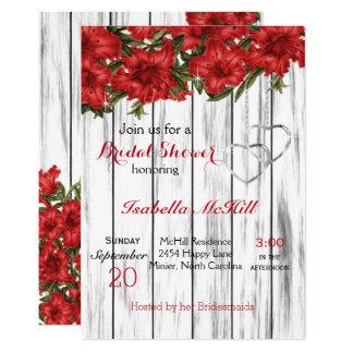Lirios rojos en la madera blanca - invitación