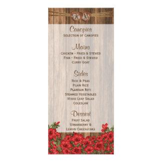 Lirios rojos hermosos en la madera - menú