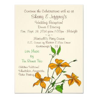 Lirios tigrados (invitación de la recepción del invitación 10,8 x 13,9 cm