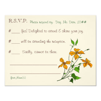 Lirios tigrados (tarjeta de contestación del boda) invitación 10,8 x 13,9 cm