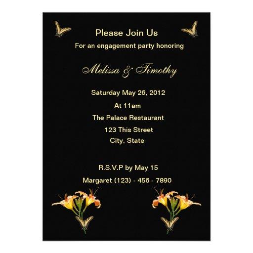Lirios y mariposas invitacion personalizada