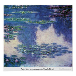 Lirios y paisaje de agua de Claude Monet Póster